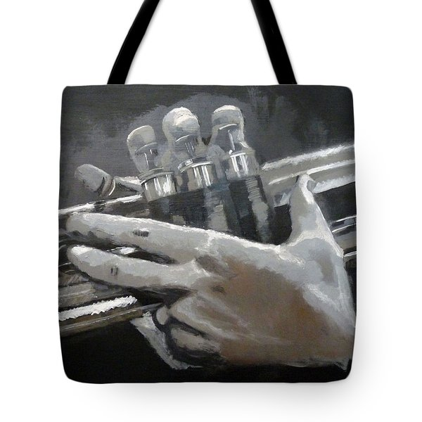 Tote Bag featuring the painting Trumpet Hands by Richard Le Page
