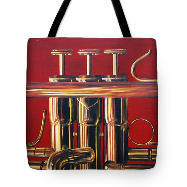 Trumpet In Red Tote Bag by Emily Page