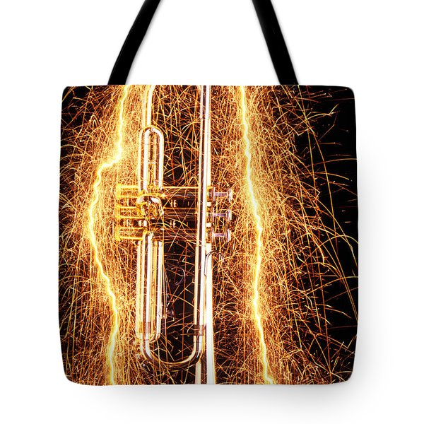 Trumpet Outlined With Sparks Tote Bag by Garry Gay