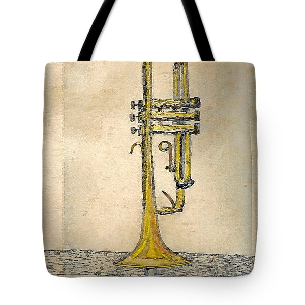 Tote Bag featuring the digital art Trumpet by Walter Chamberlain