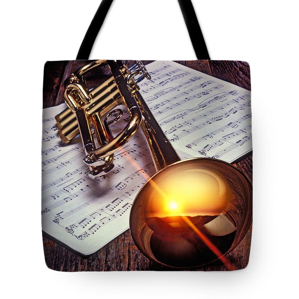 Trumpet With Sunset Tote Bag