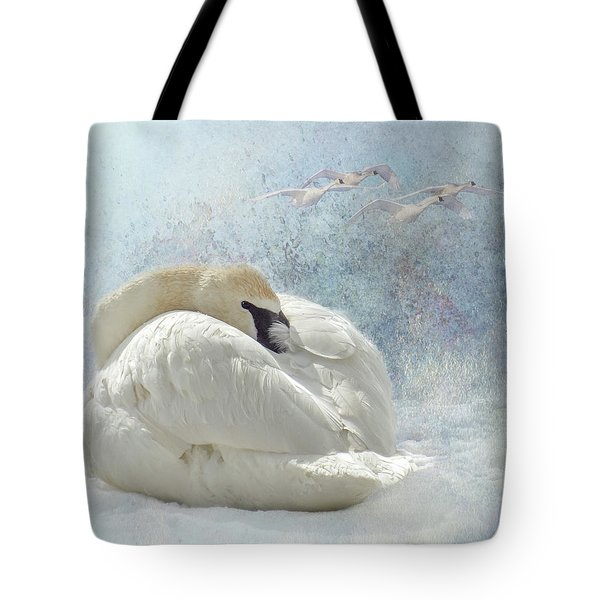 Trumpeter Textures #1 - Swan Feather Tote Bag