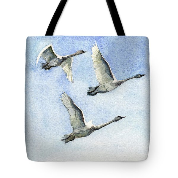 Tote Bag featuring the painting Trumpeter Swan Study by Kris Parins