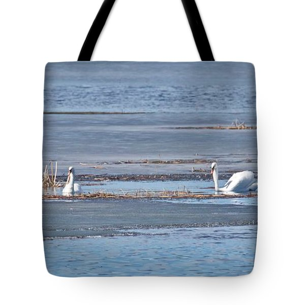Tote Bag featuring the photograph Trumpeter Swans 0933 by Michael Peychich
