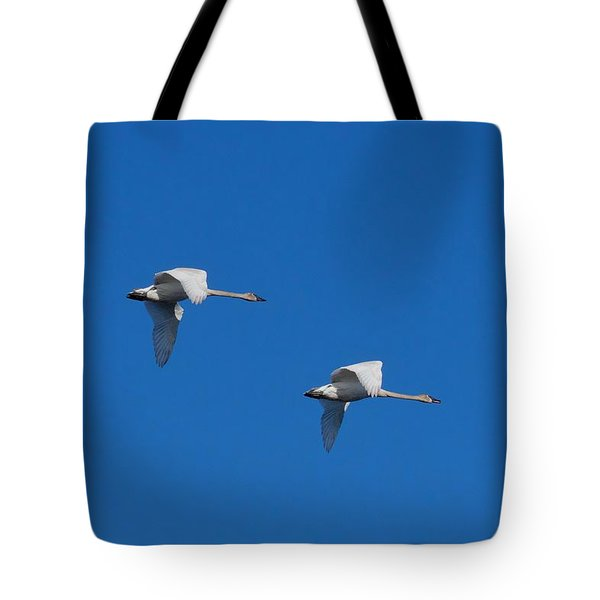 Tote Bag featuring the photograph Trumpeter Swans 1725 by Michael Peychich