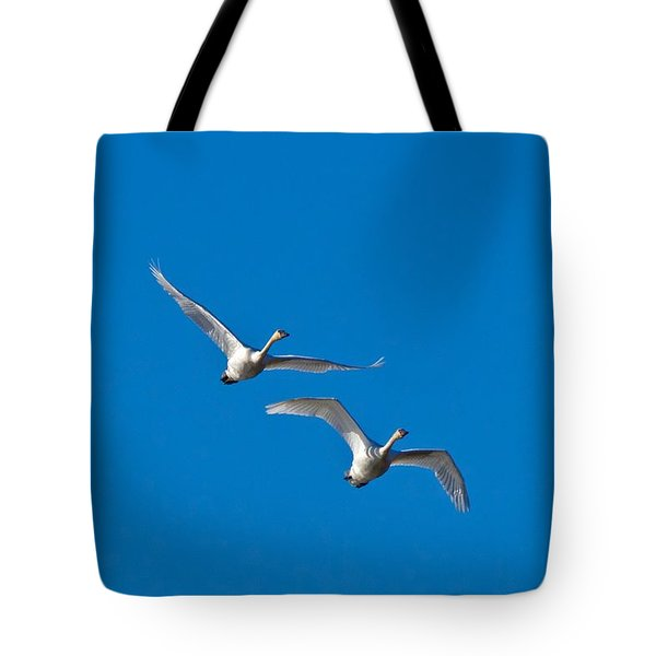 Tote Bag featuring the photograph Trumpeter Swans 1735 by Michael Peychich