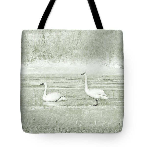Tote Bag featuring the photograph Trumpeter Swan's Winter Rest Green by Jennie Marie Schell