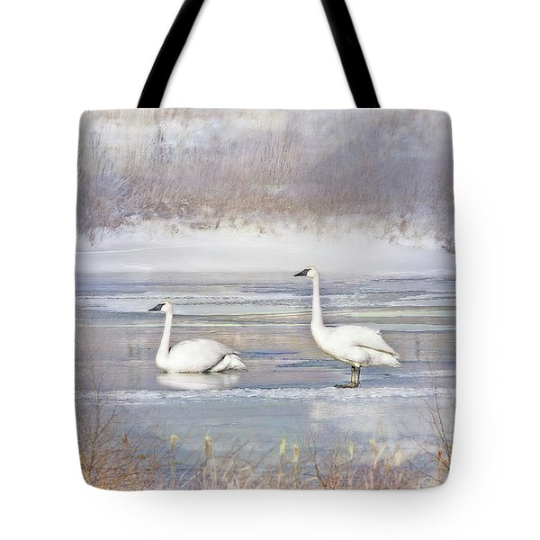 Tote Bag featuring the photograph Trumpeter Swan's Winter Rest by Jennie Marie Schell