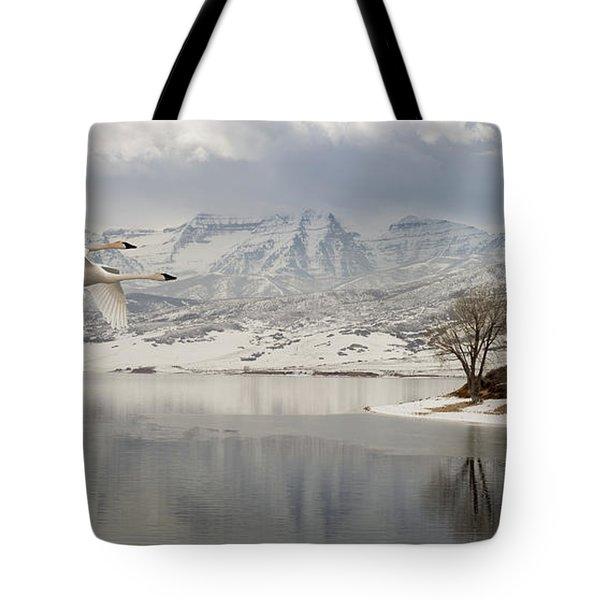 Trumpeter Swans Wintering At Deer Creek Tote Bag