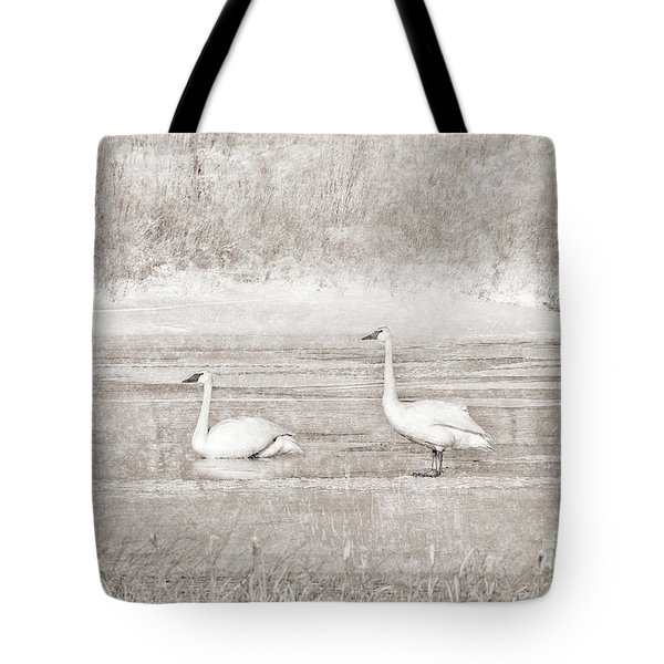 Tote Bag featuring the photograph Trumpeter Swan's Winter Rest Beige by Jennie Marie Schell