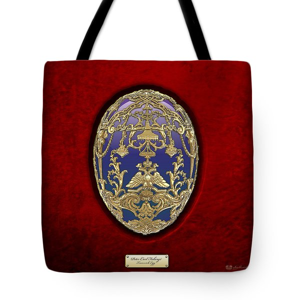 Tsarevich Faberge Egg On Red Velvet Tote Bag
