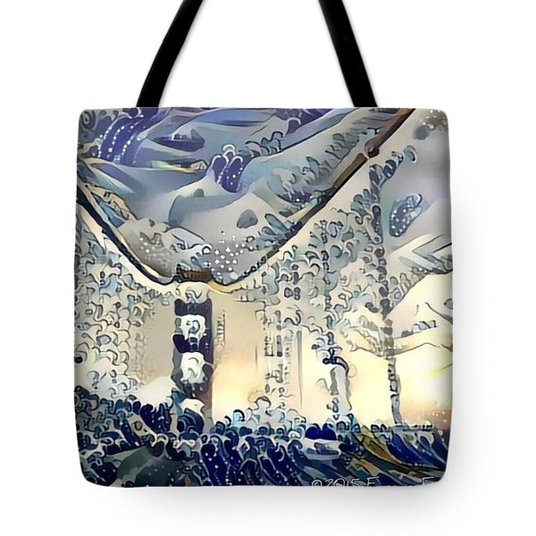 Tsunami Hits The Golden Gate Bridge Tote Bag