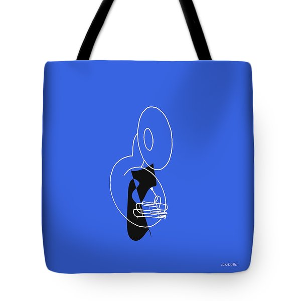 Tuba In Blue Tote Bag