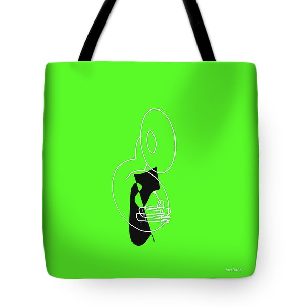 Tuba In Green Tote Bag