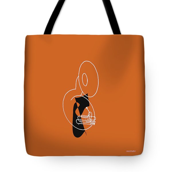 Tuba In Orange Tote Bag