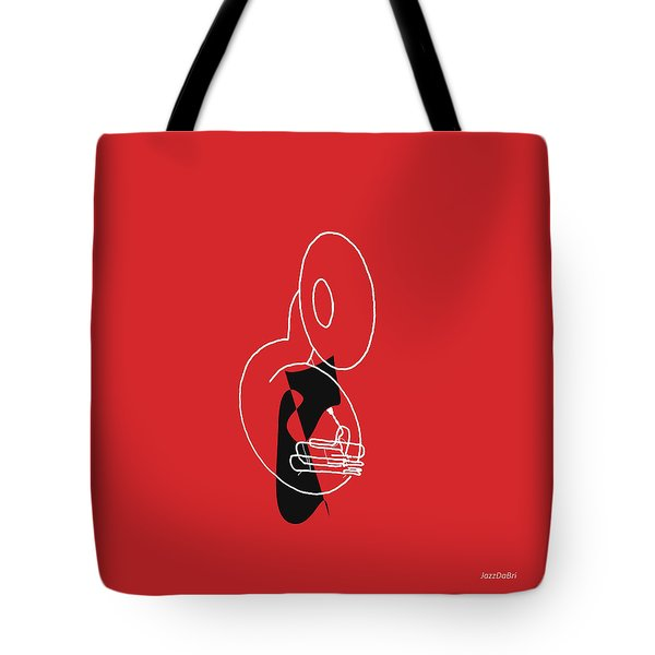 Tuba In Red Tote Bag