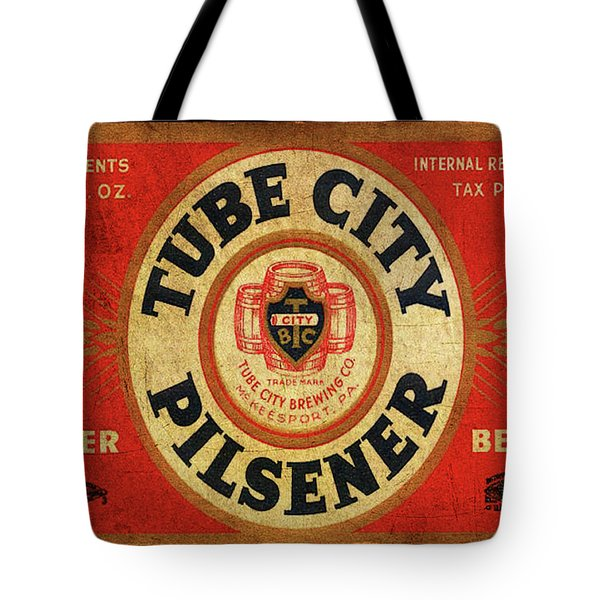 Tote Bag featuring the digital art Tube City Pilsner by Greg Sharpe