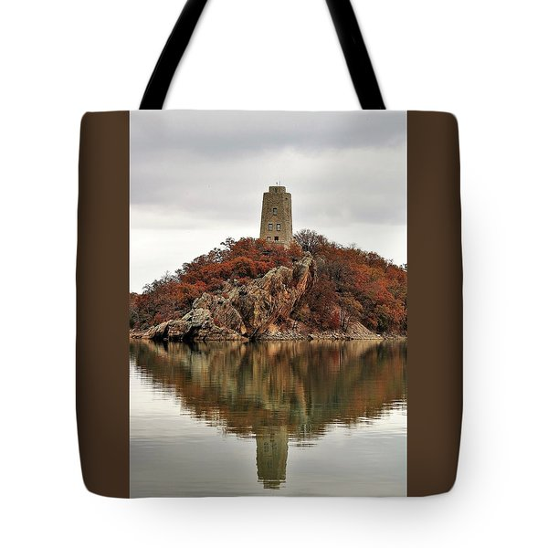 Tote Bag featuring the photograph Tucker Tower And Reflection by Sheila Brown