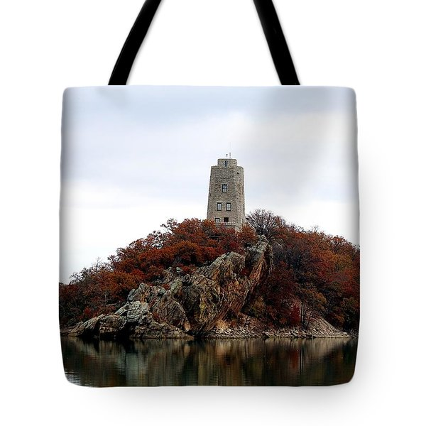 Tote Bag featuring the photograph Tucker Tower In Fall by Sheila Brown