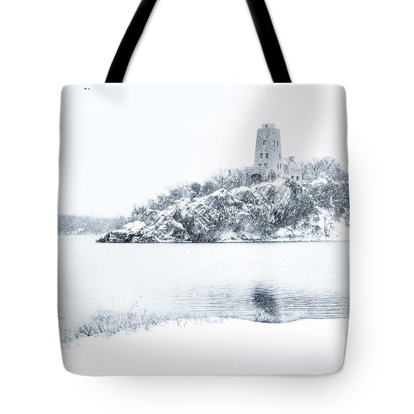 Tucker's Tower In Winter Tote Bag by Tamyra Ayles