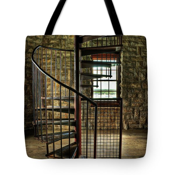 Tote Bag featuring the photograph Tucker's Tower Spiral Staircase by Tamyra Ayles