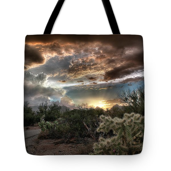 Tote Bag featuring the photograph Tucson Mountain Sunset by Lynn Geoffroy