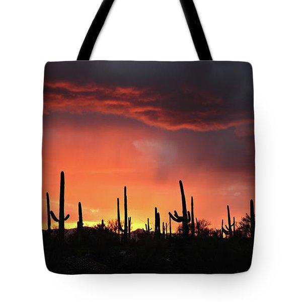 Tucson Sunset With Rain Tote Bag