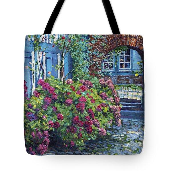 Tudor Hydrangea Garden Tote Bag