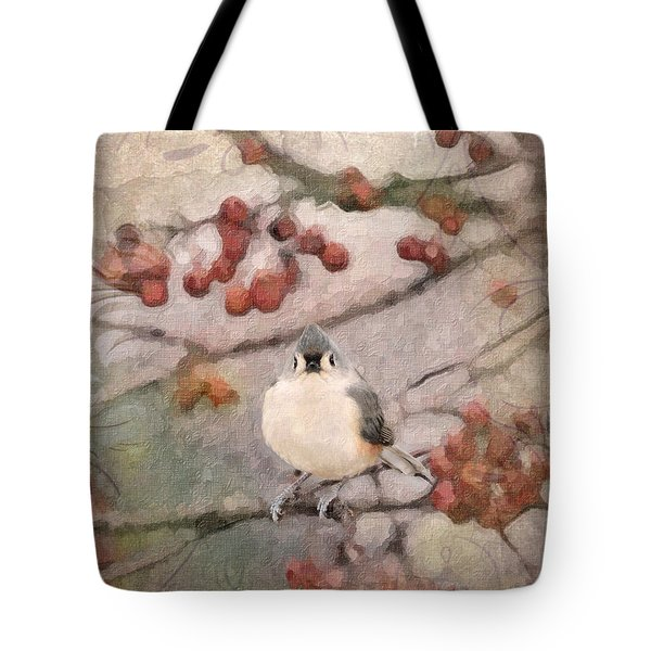 Tufted Titmouse Tote Bag by Betty LaRue