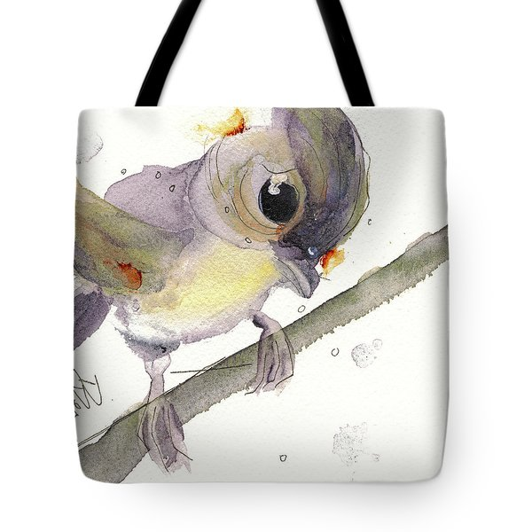 Tote Bag featuring the painting Tufted Titmouse by Dawn Derman