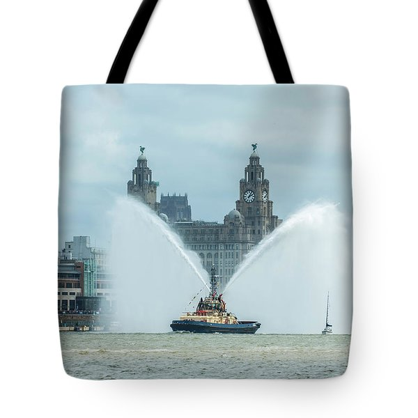 Tug Boat Fountain Tote Bag