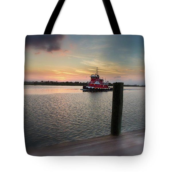 Tug Boat Sunset Tote Bag