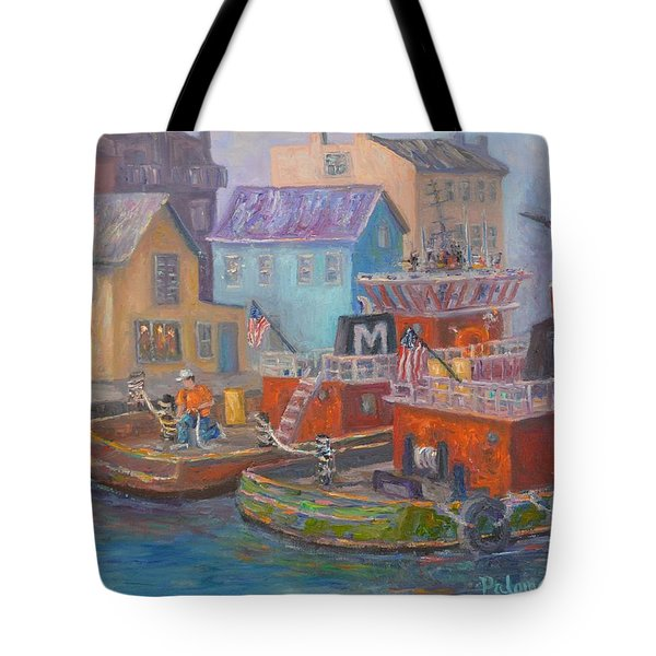 Tug Boats Portsmouth Maritime Painting Tote Bag