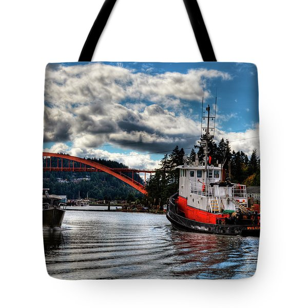Tugboat At The Rainbow Bridge Tote Bag by David Patterson