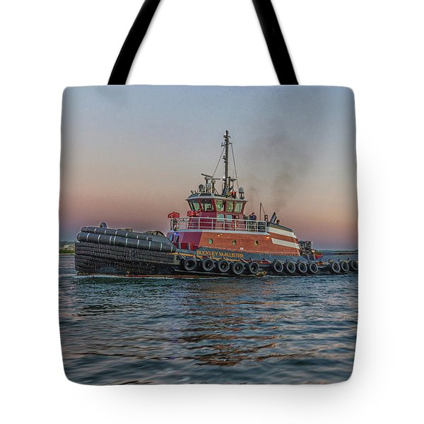 Tugboat Buckley Mcallister At Sunset Tote Bag by Brian MacLean