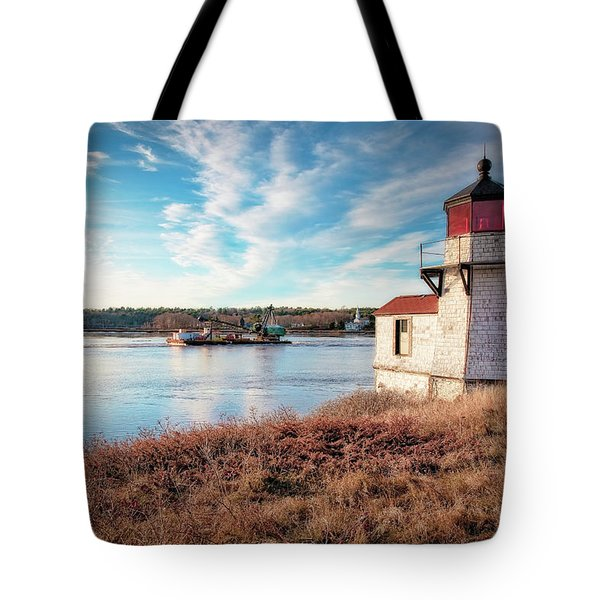 Tugboat, Squirrel Point Lighthouse Tote Bag