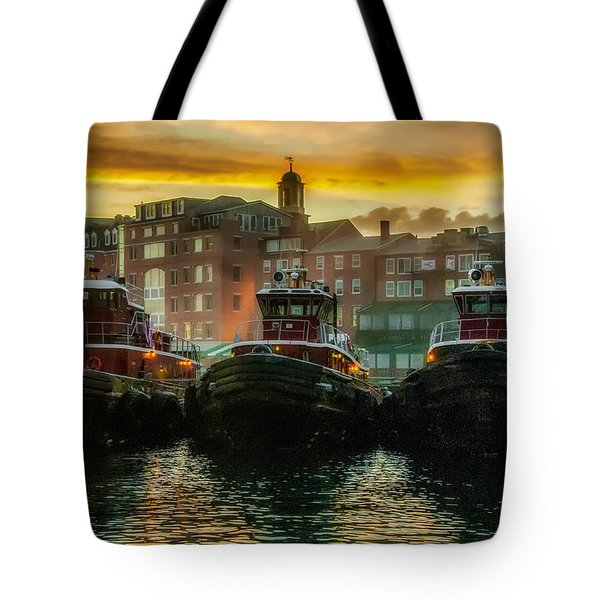 Tugboats In Portsmouth Harbor At Dawn Tote Bag