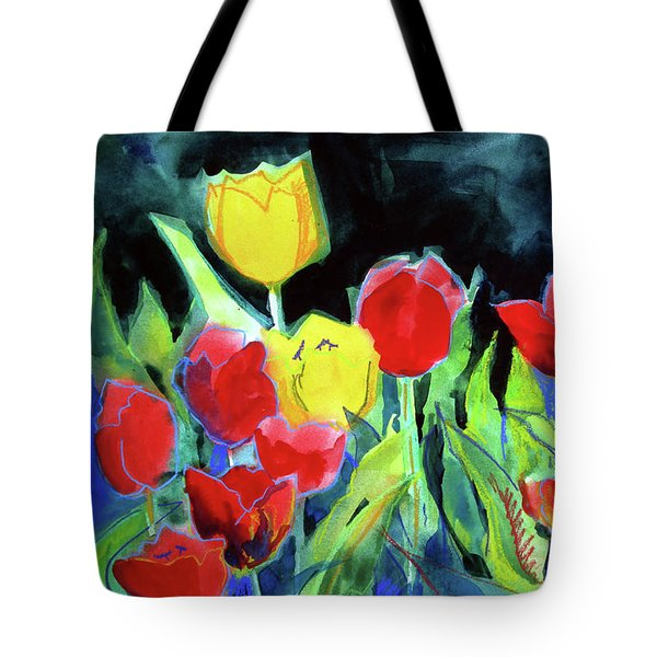 Tote Bag featuring the painting Tulip Bed At Dark by Kathy Braud