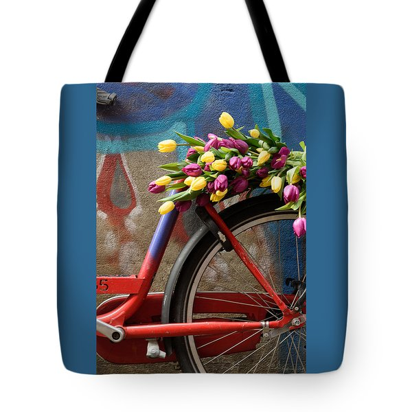 Tote Bag featuring the photograph Tulip Bike by Phyllis Peterson
