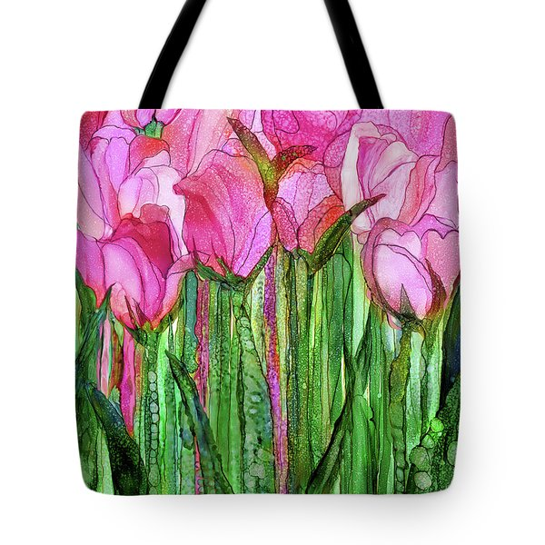 Tote Bag featuring the mixed media Tulip Bloomies 1 - Pink by Carol Cavalaris