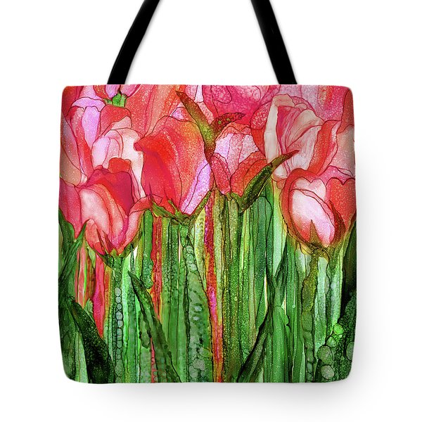 Tote Bag featuring the mixed media Tulip Bloomies 1 - Red by Carol Cavalaris