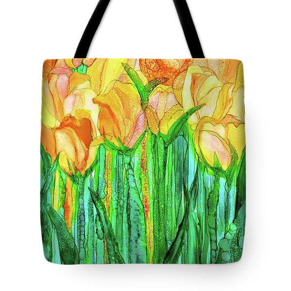 Tote Bag featuring the mixed media Tulip Bloomies 1 - Yellow by Carol Cavalaris