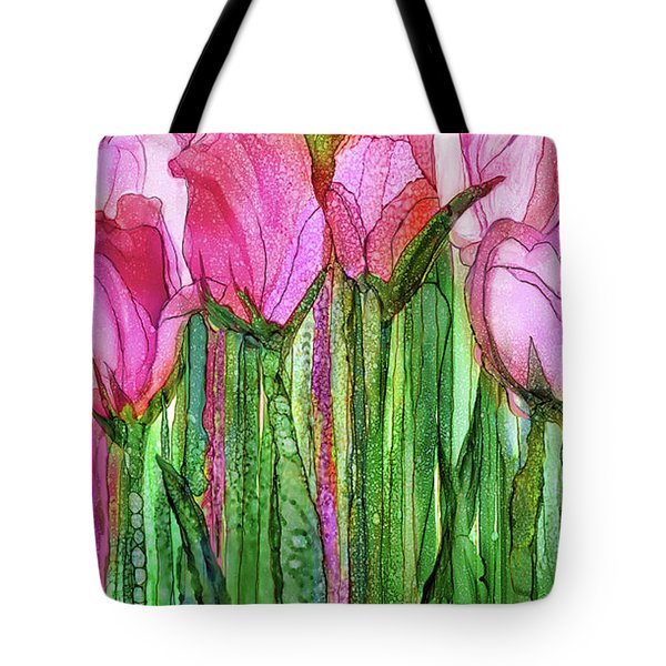 Tote Bag featuring the mixed media Tulip Bloomies 2 - Pink by Carol Cavalaris