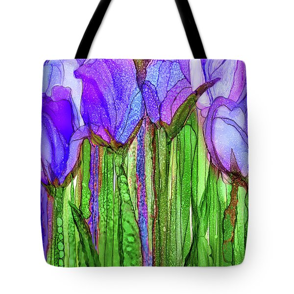 Tote Bag featuring the mixed media Tulip Bloomies 2 - Purple by Carol Cavalaris