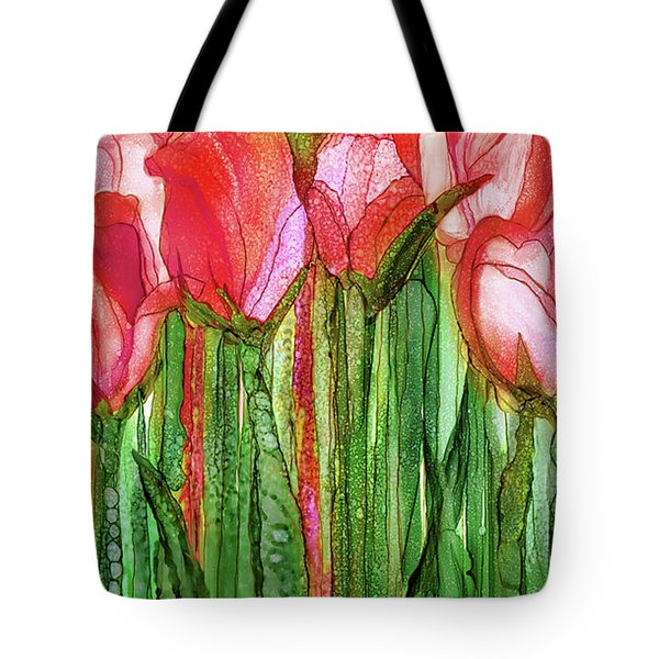 Tote Bag featuring the mixed media Tulip Bloomies 2 - Red by Carol Cavalaris