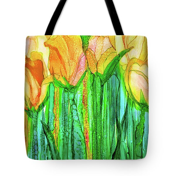 Tote Bag featuring the mixed media Tulip Bloomies 2 - Yellow by Carol Cavalaris