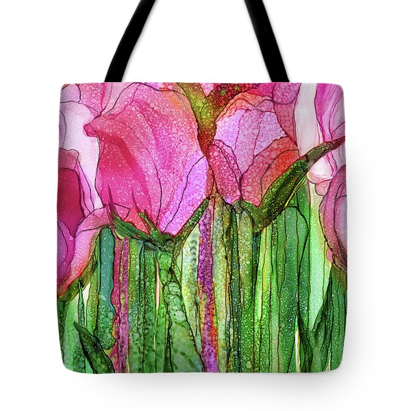Tote Bag featuring the mixed media Tulip Bloomies 3 - Pink by Carol Cavalaris
