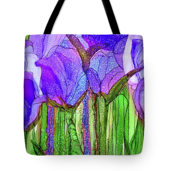 Tote Bag featuring the mixed media Tulip Bloomies 3 - Purple by Carol Cavalaris