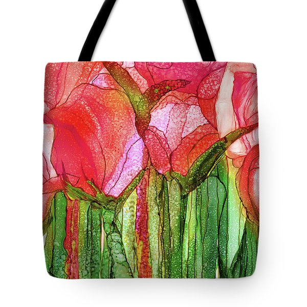 Tote Bag featuring the mixed media Tulip Bloomies 3 - Red by Carol Cavalaris