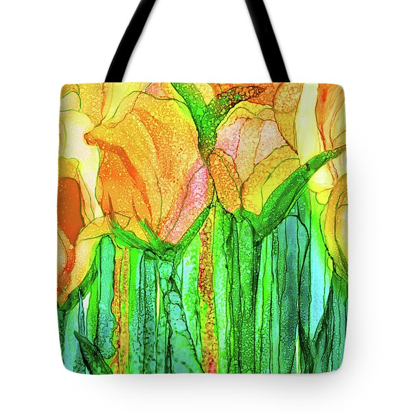Tote Bag featuring the mixed media Tulip Bloomies 3 - Yellow by Carol Cavalaris
